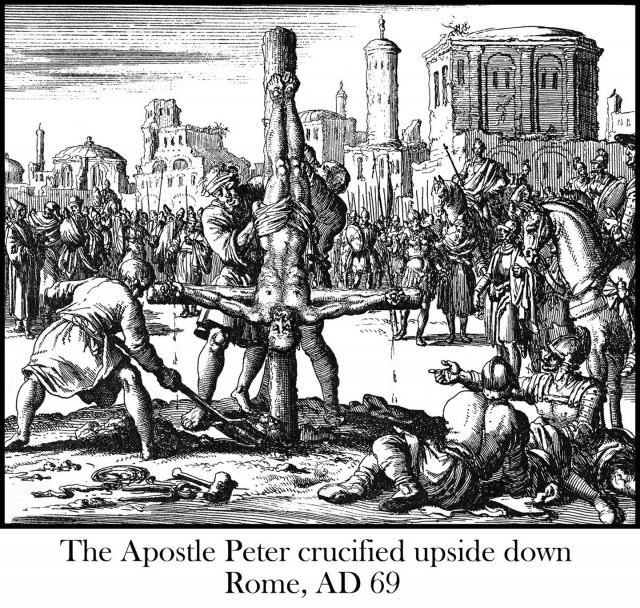 Apostle Peter crucified upside down