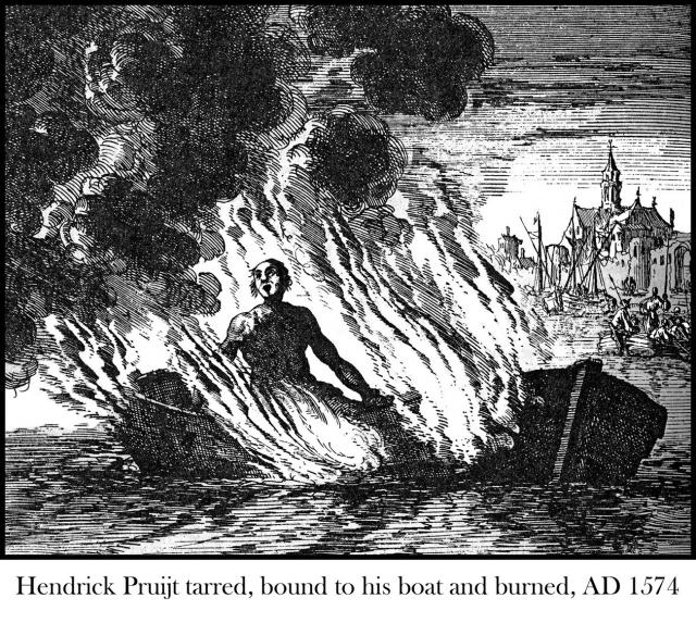 Hendrick Pruijt tied to his ship and set afire