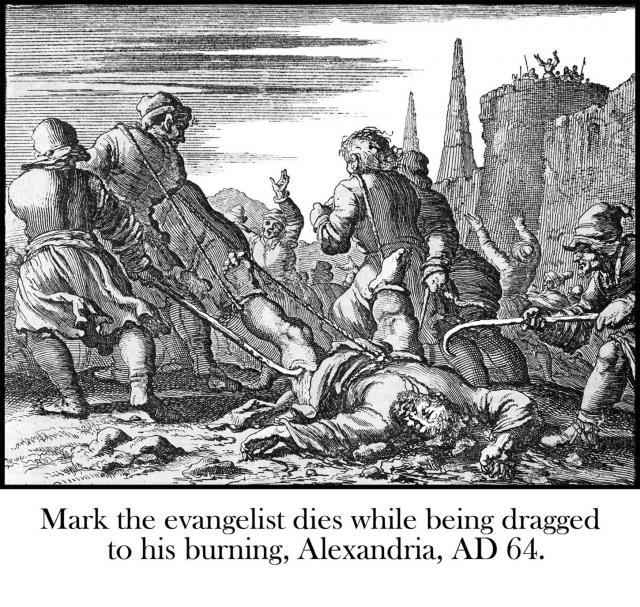 Mark the evangelist dragged to his burning