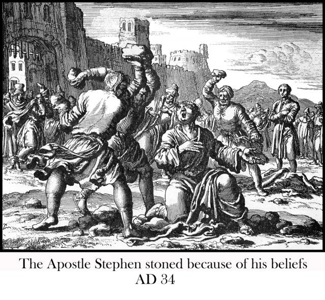 Apostle Stephen stoned,  AD 34
